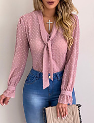 cheap -Women's Plus Size Solid Colored Bow Embroidered Blouse Basic Street chic Daily Work V Neck White / Black / Blushing Pink / Light Blue