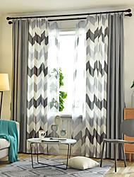 abordables -deux panneaux style nordique géométrique imitation chanvre couture style salon chambre salle à manger rideau