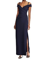 cheap -Sheath / Column Spaghetti Strap Floor Length Jersey Furcal Formal Evening Dress with Beading / Split Front 2020