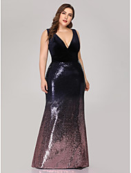 cheap -Mermaid / Trumpet V Neck Floor Length Velvet Plus Size / Blue Engagement / Formal Evening Dress with Sequin 2020
