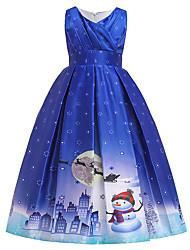cheap -Kids Girls' Active Sweet Snowflake Christmas Print Short Sleeve Midi Dress Blue