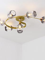 cheap -6-Light 6-head Nordic Style Metal Ceiling Lamp Modern Semi Flush Glass Ceiling lights Living Room Bedroom Dining Room lights