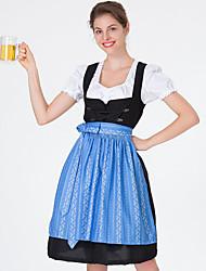 cheap -Oktoberfest Beer Dirndl Trachtenkleider Women's Dress Bavarian Costume Blue Green Red