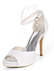 cheap -Women's Wedding Shoes Stiletto Heel Open Toe Synthetics Minimalism Fall / Spring & Summer White / Champagne / Light Purple / Party & Evening