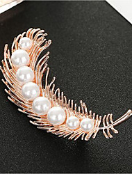 cheap -Women's Brooches Leaf Stylish Imitation Pearl Brooch Jewelry Golden For Daily