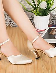 cheap -Women's Modern Shoes / Ballroom Shoes Cowhide Heel Slim High Heel Dance Shoes White / Beige / Practice