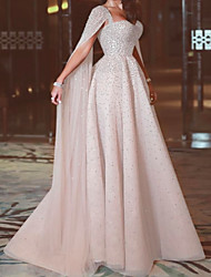 cheap -A-Line Sweetheart Neckline Sweep / Brush Train Chiffon Elegant Formal Evening Dress 2020 with Beading