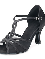 cheap -Women's Dance Shoes Latin Shoes Heel Buckle Flared Heel Almond Black T-Strap / Satin