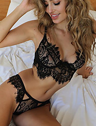 cheap -Women's Lace Matching Bralettes Nightwear Solid Colored Black White S M L
