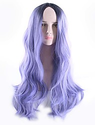 cheap -Synthetic Wig Body Wave Bob Free Part Wig Ombre Long Black / Purple Synthetic Hair 26inch Women's Odor Free Cosplay Adjustable Ombre / Heat Resistant / Natural Hairline / Heat Resistant