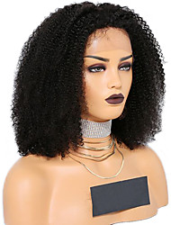cheap -Synthetic Lace Front Wig Afro Curly Kinky Curly Middle Part Free Part Lace Front Wig Long Natural Black Synthetic Hair 8-12 inch Women's Soft Elastic Women Black / Glueless
