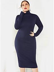 cheap -Women's Date Casual / Daily Basic Elegant Sheath Dress - Solid Colored Black Wine Green XL XXL XXXL XXXXL