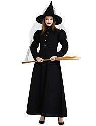 cheap -Witch Cosplay Costume Outfits Adults' Women's Cosplay Halloween Halloween Festival / Holiday Polyster Black Women's Carnival Costumes / Dress / Hat