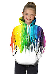 cheap -Kids Toddler Girls' Active Basic Fantastic Beasts Geometric Color Block 3D Print Long Sleeve Hoodie & Sweatshirt Rainbow