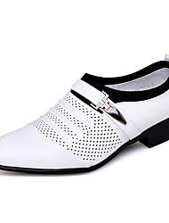 Недорогие -Муж. Кожаные ботинки Полиуретан Лето Туфли на шнуровке Черный / Белый