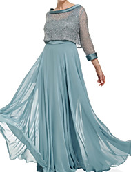 cheap -A-Line Mother of the Bride Dress Wrap Included Scoop Neck Floor Length Chiffon Lace 3/4 Length Sleeve with Lace Crystals Ruching 2021