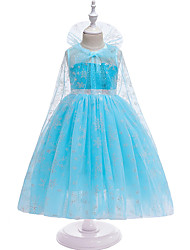 cheap -Princess Elsa Dress Cosplay Costume Masquerade Girls' Movie Cosplay A-Line Slip Cosplay Halloween Blue Dress Halloween Children's Day Masquerade Tulle Poly / Cotton Blend Paillette