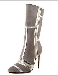 cheap -Women's Boots Stiletto Heel Round Toe Suede Mid-Calf Boots Winter Black / Blue / Gray