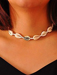 cheap -Women's Necklace Handmade Simple Vintage Bohemian Colorful Imitation Pearl Shell Black Line Necklace with Bracelet Brown Line Necklace with Bracelet Champagne Shell Fragment Colored Shell Fragment