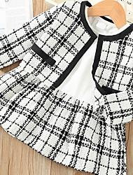 cheap -Toddler Girls' Active Plaid Long Sleeve Cotton Clothing Set Black