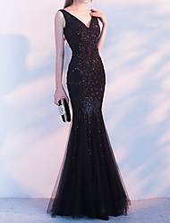 cheap -Mermaid / Trumpet V Neck Floor Length Polyester Sparkle / Black Party Wear / Formal Evening Dress with Beading / Sequin 2020