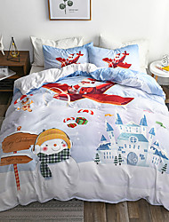 cheap -Marry Christmas Bedding Set Santa Claus Gift Printed 3D Sheet Pillowcase and Duvet Cover Set Red Bed Linen Bedclothes