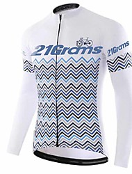 cheap -21Grams Men's Long Sleeve Cycling Jersey Winter Fleece 100% Polyester Gray+White Bike Jersey Top Mountain Bike MTB Road Bike Cycling Thermal / Warm UV Resistant Breathable Sports Clothing Apparel