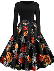 cheap -Dress Adults' Women's Vintage Halloween Halloween Festival / Holiday Cotton / Polyester Blend Black Women's Carnival Costumes Pumpkin