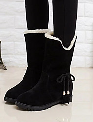 cheap -Women's Boots Snow Boots Low Heel Round Toe Tassel Suede Mid-Calf Boots Casual / Minimalism Spring &  Fall / Fall & Winter Black / Yellow / Red