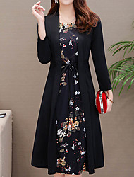 cheap -Women's Daily Wear Street Vintage Street chic Sheath Two Piece Dress - Floral Ruched Lace up Black Wine Blue M L XL XXL