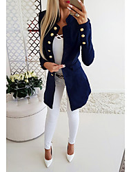 cheap -Women's Jacket Solid Colored Slim Polyester Coat  Stand Collar  Long Work Tops Black / Red / Navy Blue