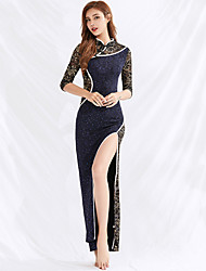 cheap -Belly Dance Dresses Women's Performance Spandex Pattern / Print / Split Half Sleeve Dress