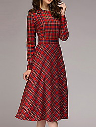 cheap -Women's Red Dress A Line Plaid S M