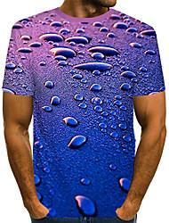cheap -Men's Daily Beach Street chic / Exaggerated T-shirt - Color Block / 3D Print Royal Blue