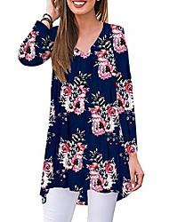 cheap -Women's Floral T-shirt Daily V Neck Wine / White / Black / Royal Blue / Light Blue