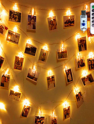 cheap -Photo Clip String Lights 3M with 20 LED Clips for Dorm Party with Remote Control Warm White Creative LED Christmas Lantern Party Decorative USB Set