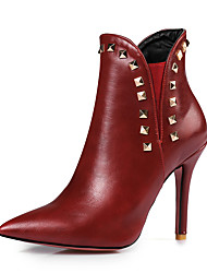 cheap -Women's Boots Stiletto Heel Pointed Toe Rivet PU Booties / Ankle Boots Vintage / British Fall & Winter Black / Wine / Red / Party & Evening