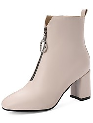 cheap -Women's Boots Chunky Heel Round Toe Faux Leather Booties / Ankle Boots Casual / Sweet Walking Shoes Spring &  Fall / Fall & Winter Black / Beige