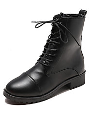 cheap -Women's Boots Block Heel Round Toe Stitching Lace PU Booties / Ankle Boots Casual Walking Shoes Fall & Winter Black