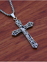 cheap -Men's Pendant Necklace Geometrical Cross Fashion Titanium Steel Gold Silver 60 cm Necklace Jewelry 1pc For Daily Holiday
