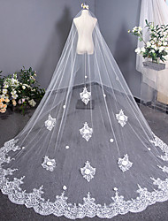 cheap -One-tier Vintage Style Wedding Veil Cathedral Veils with Trim 137.8 in (350cm) Tulle / Angel cut / Waterfall
