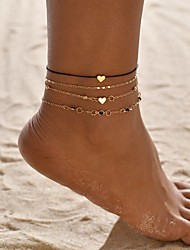 cheap -Ankle Bracelet Simple Bohemian Fashion Women's Body Jewelry For Gift Daily Geometrical Gold Plated Alloy Heart Star Gold 4pcs