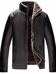cheap -Men's Leather Jacket Daily Stand Regular Solid Colored Long Sleeve Black US36 / UK36 / EU44 / US38 / UK38 / EU46 / US40 / UK40 / EU48