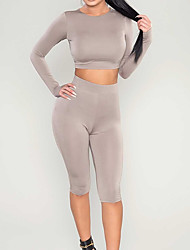 cheap -Women's Cropped Yoga Suit Solid Color Yoga Fitness Gym Workout 3/4 Tights Crop Top Long Sleeve Activewear Breathable Moisture Wicking Quick Dry High Elasticity Slim