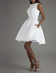 cheap -A-Line Minimalist White Graduation Cocktail Party Dress Boat Neck Sleeveless Knee Length Polyester with Bow(s) Pleats 2020