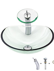 cheap -Boweiya manufacturer batches BW09-168 a simplified and clear heart-shaped basin tempered glass washbasin with waterfall tap basin bracket