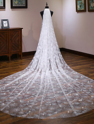 cheap -One-tier European Style Wedding Veil Cathedral Veils with Trim 137.8 in (350cm) Tulle / Angel cut / Waterfall