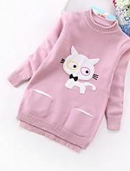 cheap -Kids Girls' Basic Print Long Sleeve Sweater & Cardigan Blushing Pink