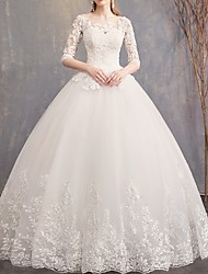 cheap -A-Line Off Shoulder Floor Length Tulle Half Sleeve Glamorous See-Through / Backless / Illusion Sleeve Wedding Dresses with Appliques 2020