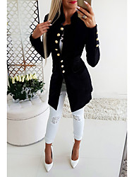 cheap -Women's Blazer, Solid Colored Stand Polyester Black / Red / Navy Blue / Slim